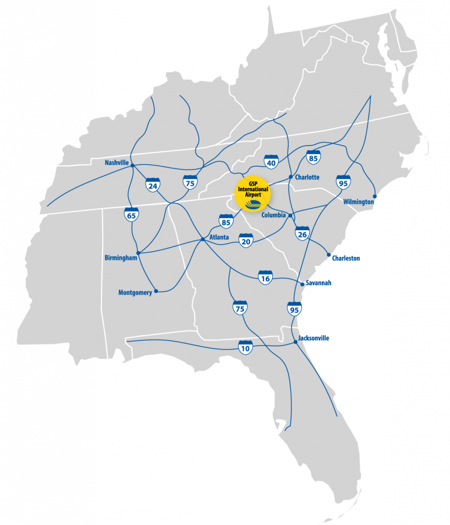 US Map with interstates in South Carolina highlighted